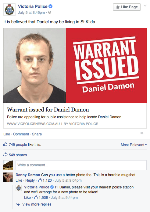 Man Asks Victoria Police for a Better Mugshot When He Sees His Arrest Warrant on Facebook