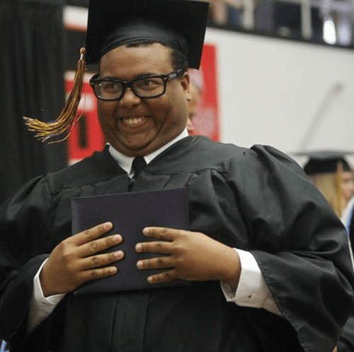 derploma guy graduation face in newspaper