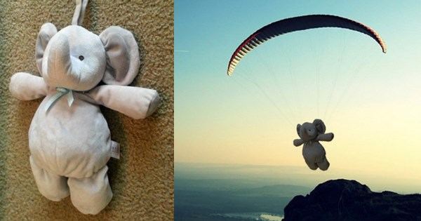 photoshops of a lost toy traveling the world