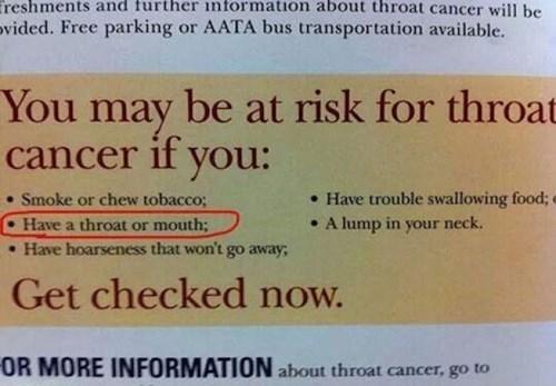 medical, psa, cancer, throat, sign