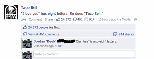 taco bell, spelling, i love you, diarrhea