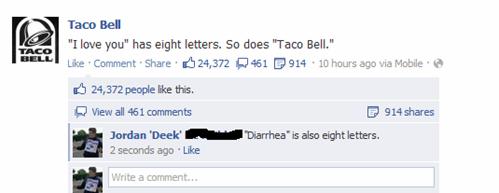 taco bell, spelling, i love you, diarrhea