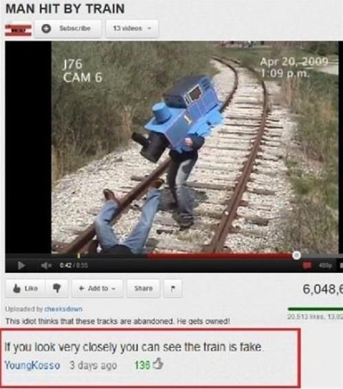fake, train, accident, comments