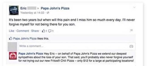 papa johns, breakup, misery, pizza, comments