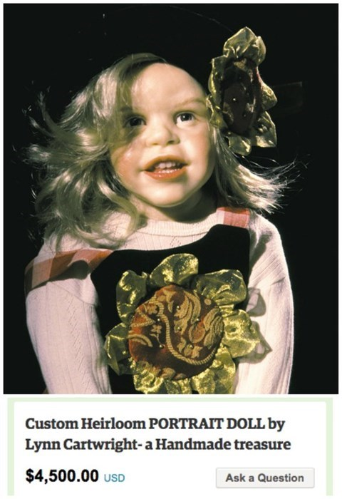 Poster - Custom Heirloom PORTRAIT DOLL by Lynn Cartwright-a Handmade treasure $4,500.00 USD Ask a Question
