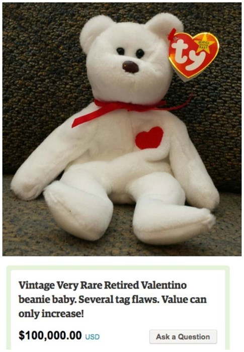 Stuffed toy - Vintage Very Rare Retired Valentino beanie baby. Several tag flaws. Value can only increase! $100,000.00 uSD Ask a Question