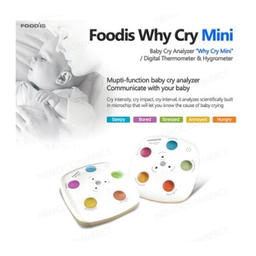 "Product - FOODIS Foodis Why Cry Mini Baby Cry Analyzer ""Why Cry Mini /Digital Thermometer & Hygrometer Mupti-function baby cry analyzer Communicate with your baby Cry intersity, cry impact, cy intenval it analyzes scientfialy buit in microchip that willet you know the cause of baby crying Steepy Bored Stressed Annoyed Hungry NEMO"