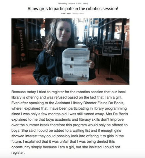 Girl's Petition to Enroll in Boys Only Robotics Class