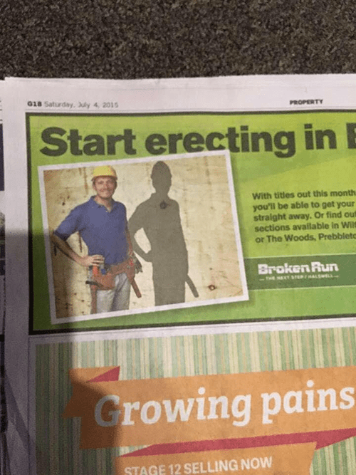 start erecting advertisement shadow