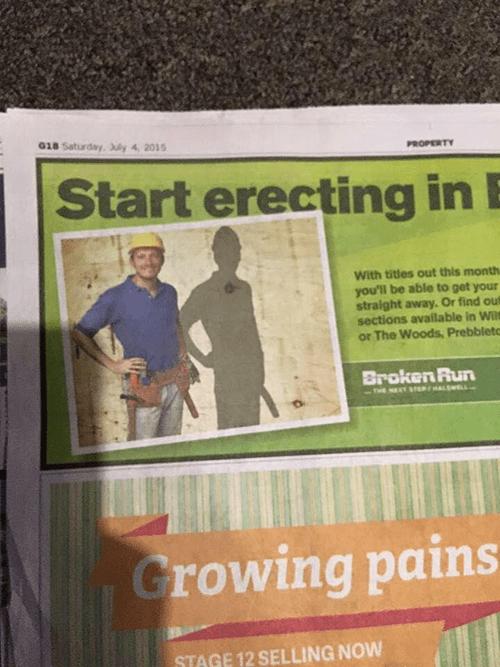 start erecting advertisement shadow