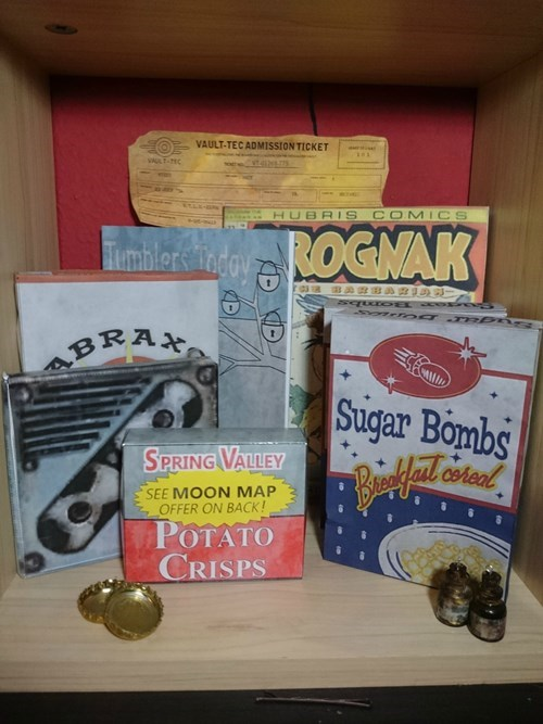 Box - VAULT-TEC ADMISSION TICKET vtas HUBRIS COMICS Fmbale CidouROGNAK BRA 4 Sugar Bombs SPRING VALLEY SEE MOON MAP OFFER ON BACK! POTATO CRISPS