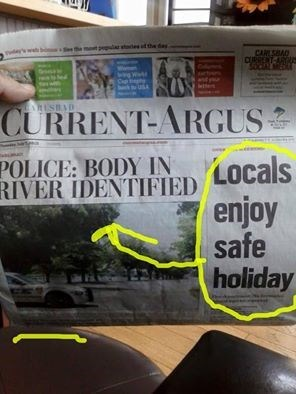 FAIL headline body vacation newspaper