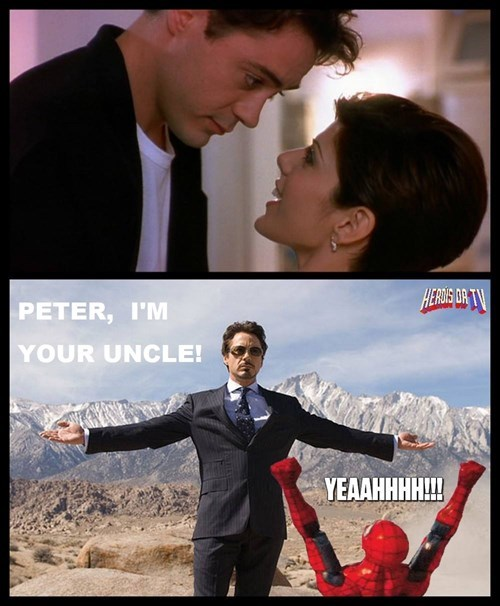 superheroes-spider-man-marvel-tony-stark-kisses-marisa-tomei-becomes-peters-uncle-memes