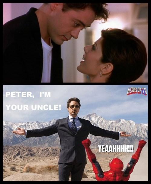 superheroes-spider-man-marvel-tony-stark-kisses-marisa-tomei-becomes-peters-uncle-memes