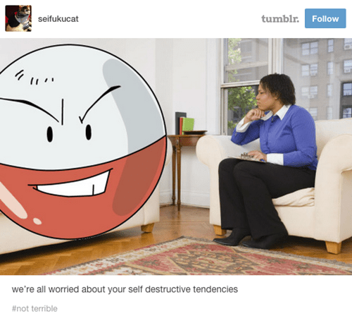 pokemon memes electrode self destructive therapy