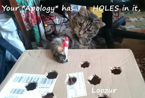 Your *Apology* has..     HOLES in it,                                Loozur