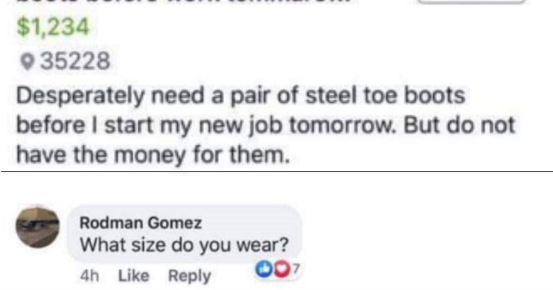 wholesome random act of kindness shoes work boots working stranger facebook generous - 8533253