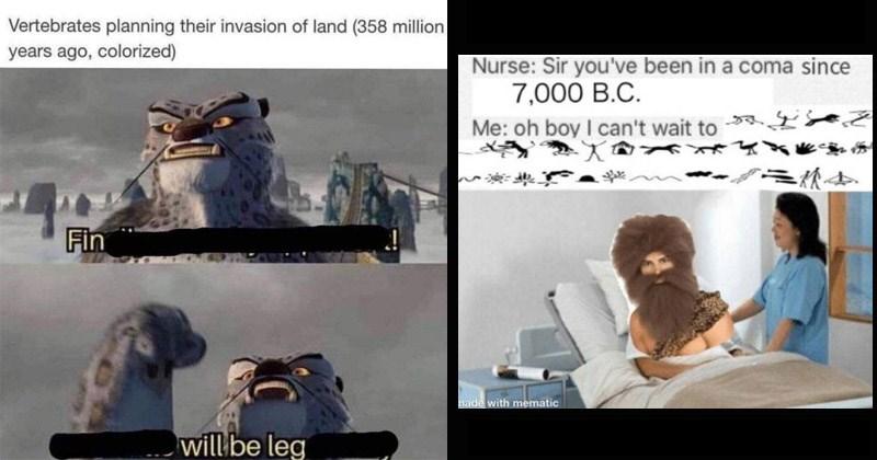 ancient funny memes humans Caveman homo sapiens prehistoric dinosaurs anthropology science - 8533509