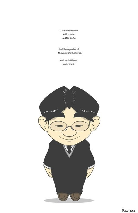 Cartoon - Take the final bow with a smile Mister Iwata And thank you for all the years and memories And for letting us understand Moe ois