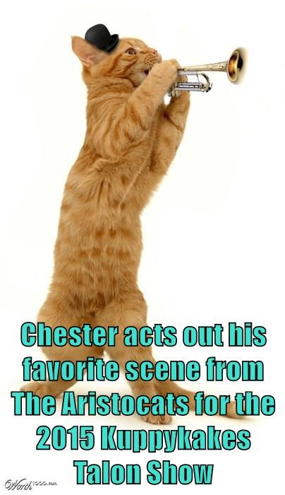 Chester acts out his favorite scene from The Aristocats for the 2015 Kuppykakes Talon Show