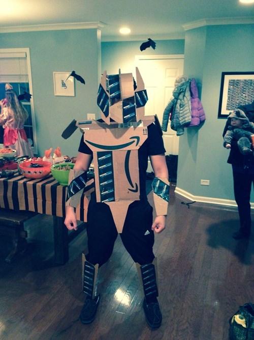 Amazon Prime boxes made into an Optimus Prime costume.