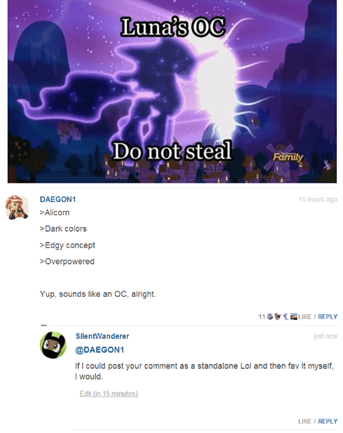 OC comments brony so meta luna