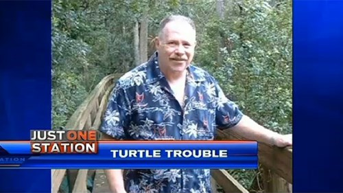 Turtle habitat guard gets shot in the butt by drunk.