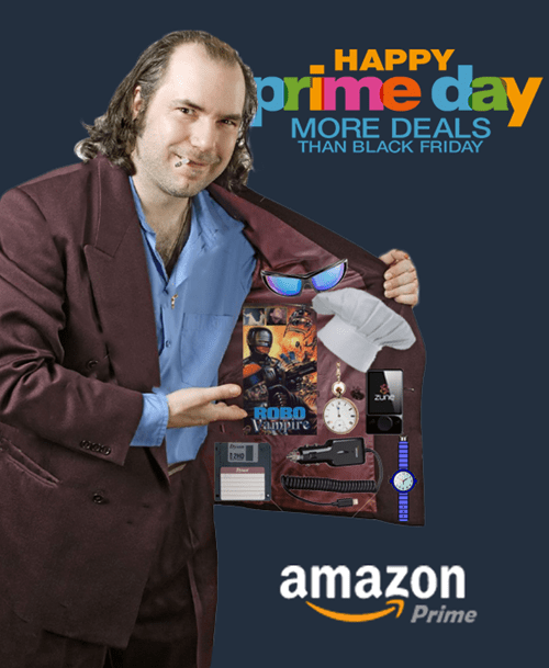 Strange image of a flasher with very basic products in his coat instead of what you'd expect, to highlight the disappointment of Amazon Prime Day.