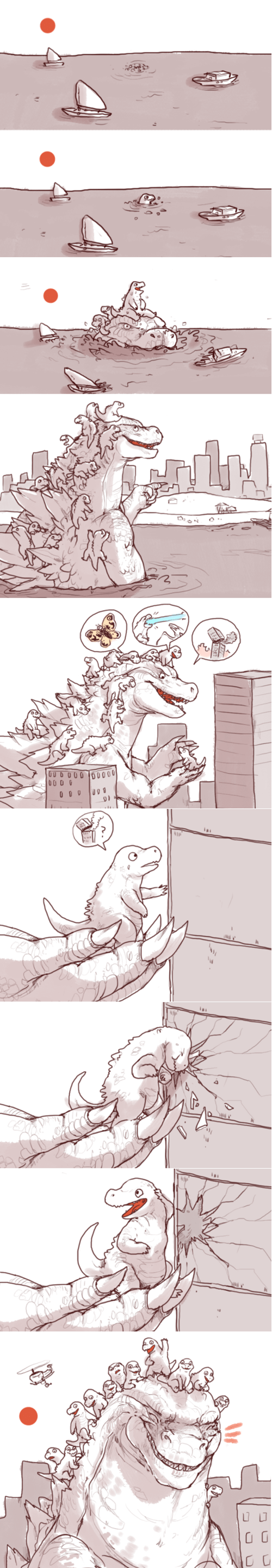 dads,godzilla,kaiju,win,web comics,monster
