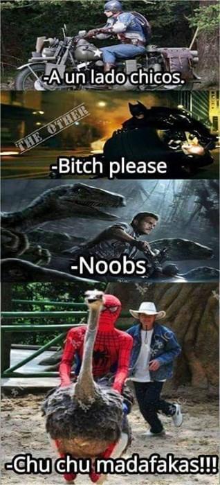 spiderman en avestruz