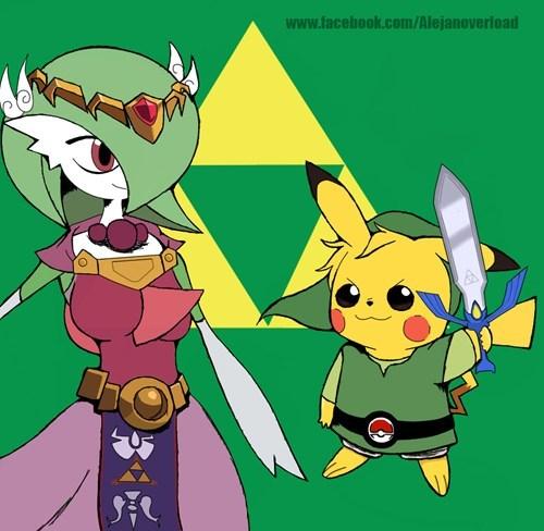 crossover legend of zelda pikachu gardevoir - 8544157184