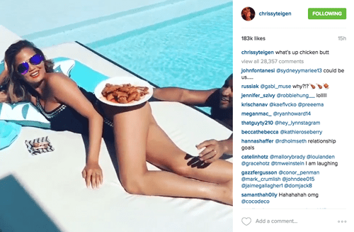 Chrissy Teigen won't let John Legend have any chicken wings from her butt.