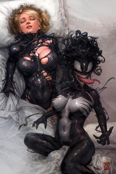 superheroes-spider-gwen-marvel-venom-symbiote-fan-art-scary