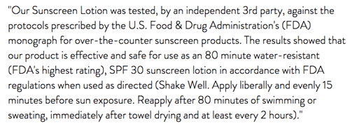"Text - ""Our Sunscreen Lotion was tested, by an independent 3rd party, against the protocols prescribed by the U.S. Food & Drug Administration's (FDA) monograph for over-the-counter sunscreen products. The results showed that our product is effective and safe for use as an 80 minute water-resistant (FDA's highest rating), SPF 30 sunscreen lotion in accordance with FDA regulations when used as directed (Shake Well. Apply liberally and evenly 15 minutes before sun exposure. Reapply after 80 minutes"