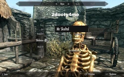 Action-adventure game - Body Head Roce 2dooty4me Nord Mr Skeltal Or Redguard Cancel e AcE Skelleton Wood Blf The undeod fiv NMEPrisoner RACE Skeleton R Done