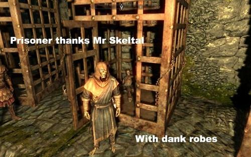 Action-adventure game - Prisoner thanks Mr Skeltal With dank robes
