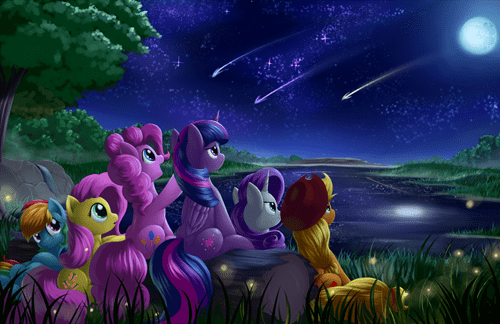 Fan Art,mane 6,cute,stars,night