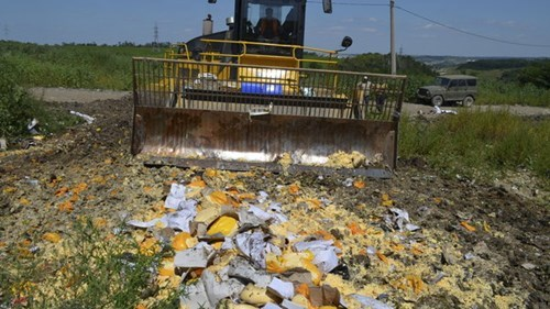 Russia destroys a lot of cheese because of western sanctions.