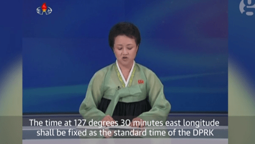 North Korea f*cks with Japan by setting its clocks back half an hour.