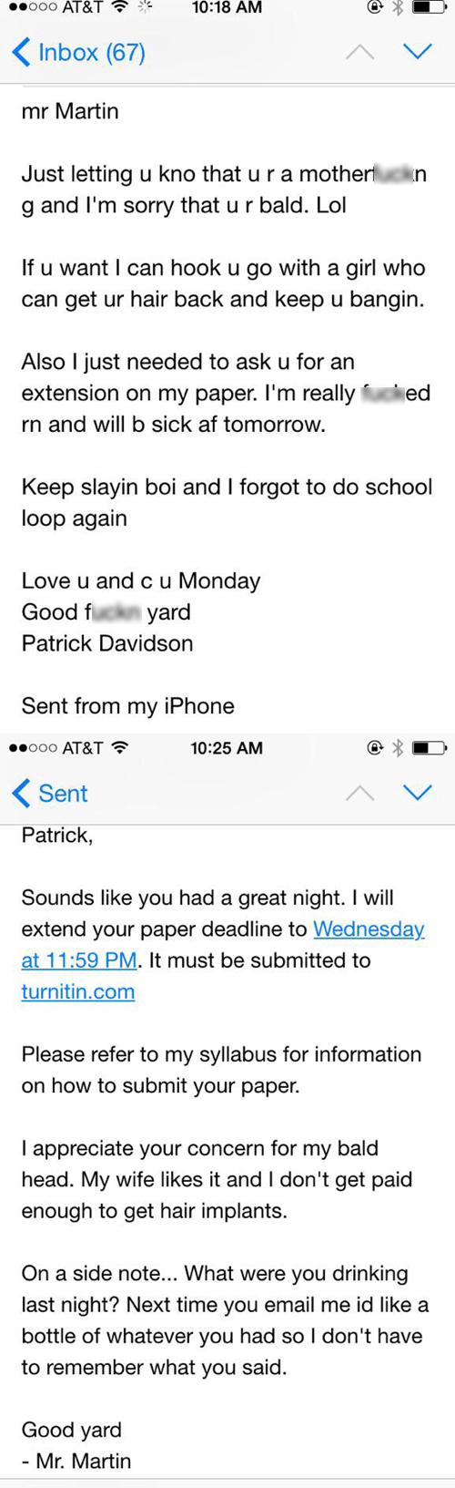 Drunk Emailing Your Teacher