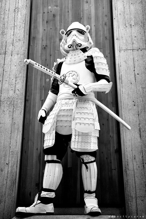 samurai,cosplay,scifi,star wars,stormtrooper