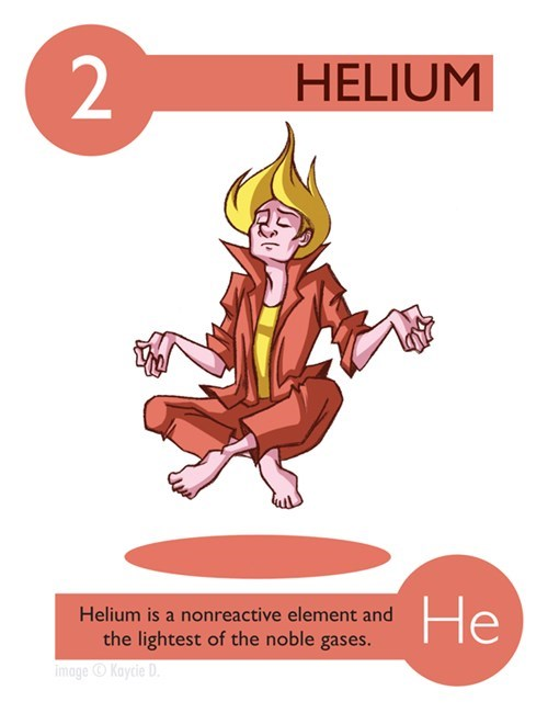 Cartoon - 2 HELIUM He Helium is a nonreactive element and the lightest of the noble gases. image Kaycie D