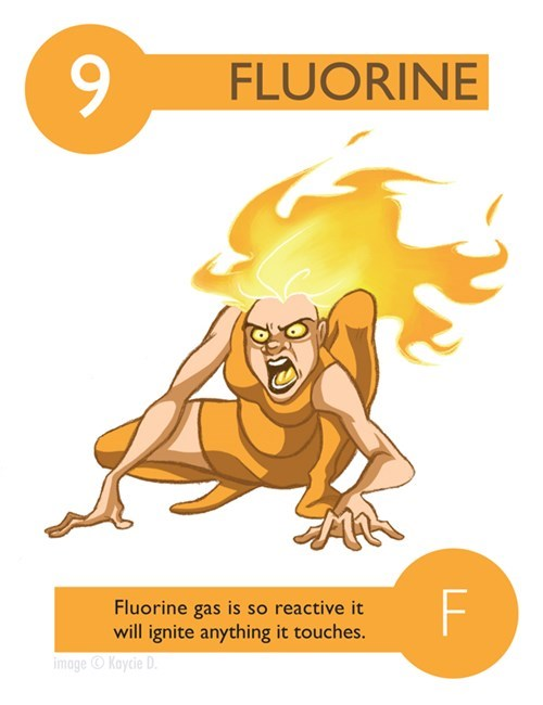 Illustration - FLUORINE F Fluorine gas is so reactive it will ignite anything it touches. image Kaycie D