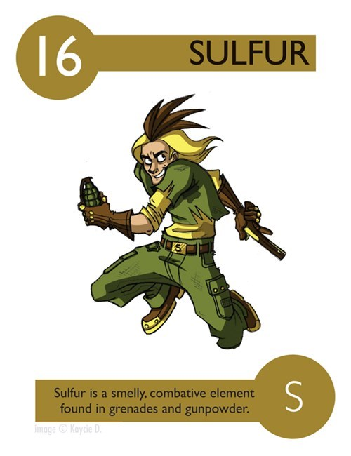 Fictional character - 16 SULFUR Sulfur is a smelly, combative element found in grenades and gunpowder. imageKaycie D