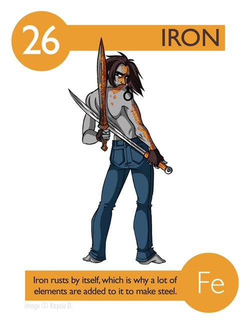 Cartoon - 26 IRON Fe Iron rusts by itself, which is why a lot of elements are added to it to make steel. image Kaycie D