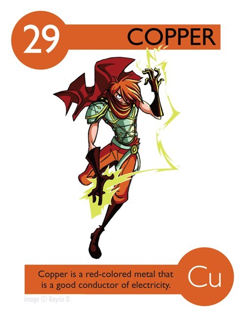 Illustration - 29 COPPER Cu Copper is a red-colored metal that is a good conductor of electricity. image Kaycie D