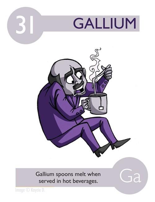 Cartoon - GALLIUM Ga Gallium spoons melt when served in hot beverages. imageKaycie D 31