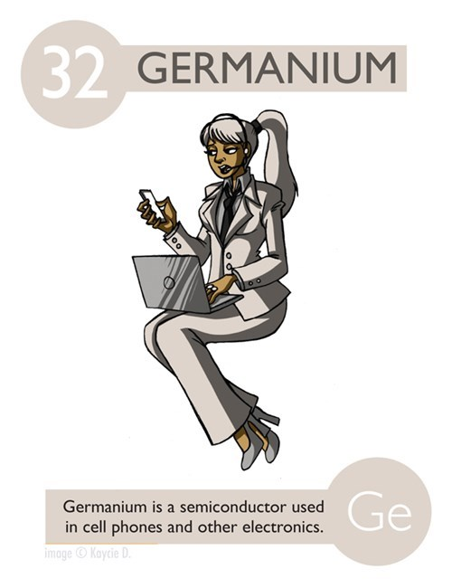 Cartoon - (32 GERMANIUM Ge Germanium is a semiconductor used in cell phones and other electronics. imageKaycie D