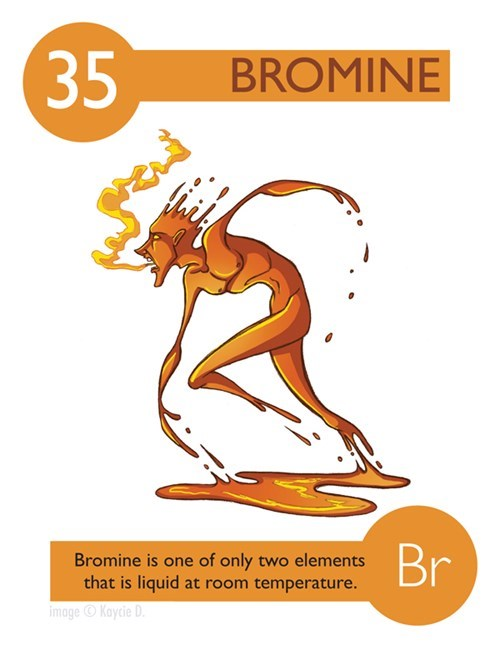 (35 BROMINE Br Bromine is one of only two elements that is liquid at room temperature. imageKaycie D