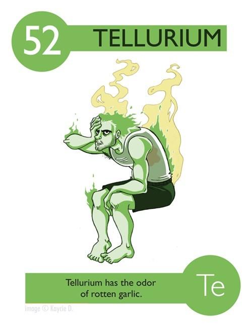 Fictional character - 52 TELLURIUM Te Tellurium has the odor of rotten garlic. image Kaycie D